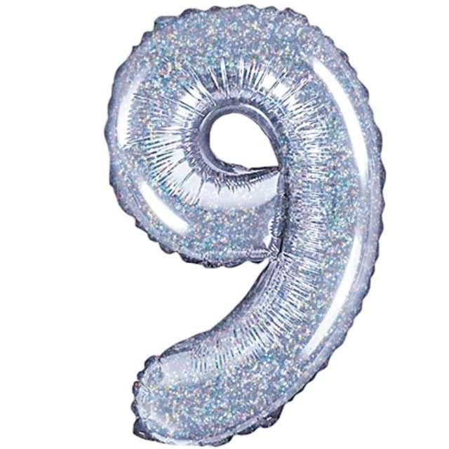"Balon foliowy cyfra 9, 14"", PartyDeco, srebrny holograficzny"