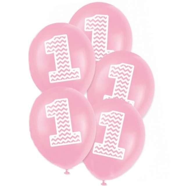 """Balony """"1 urodziny"""", 12"""", różowe, 5 szt"""