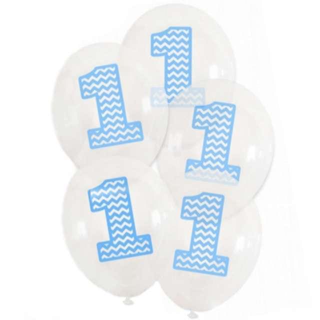 """Balony """"1 urodziny"""", 12"""", transparentne błękitne, 5 szt"""