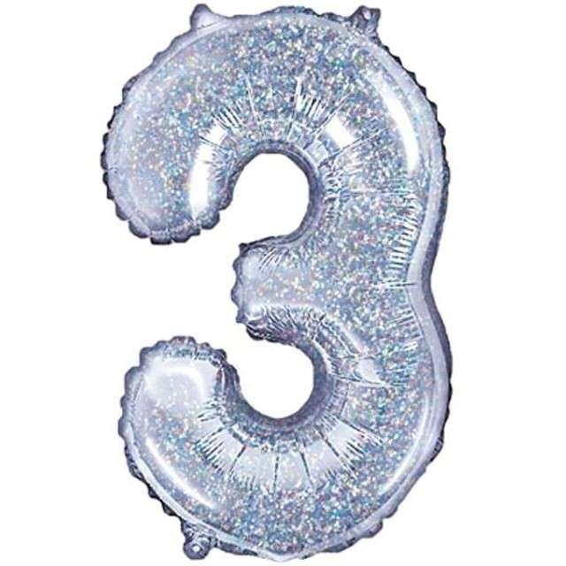 "Balon foliowy cyfra 3, 14"", PartyDeco, srebrny holograficzny"