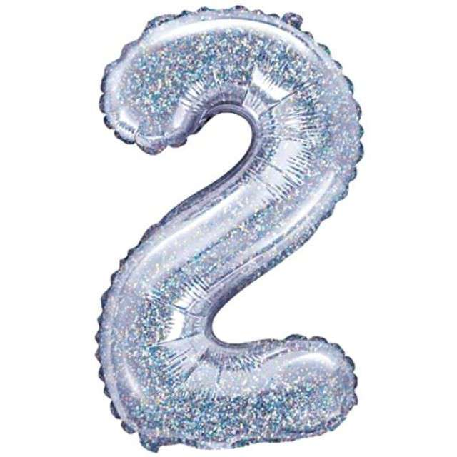 "Balon foliowy cyfra 2, 14"", PartyDeco, srebrny holograficzny"