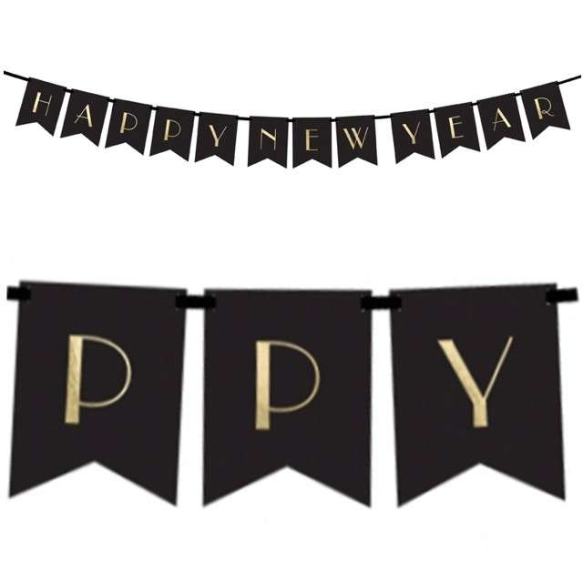 "Baner ""Happy New Year"", PartyDeco, 170 cm"