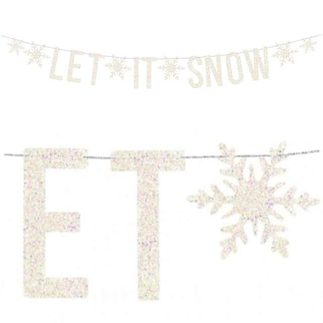 "Baner ""Let it snow"", biały holograficzny, PartyDeco, 170 cm"