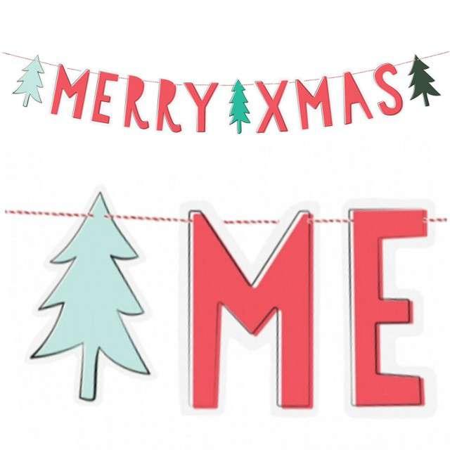 "Baner ""Merry Xmas"", PartyDeco, 120 cm"