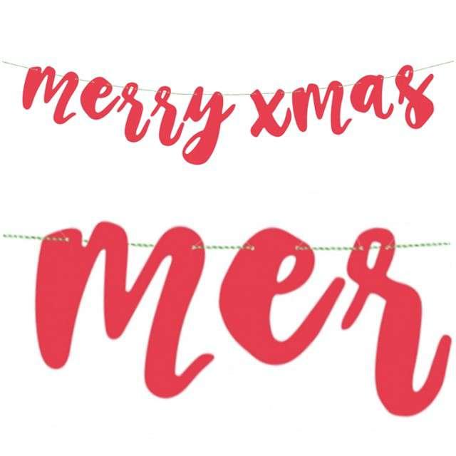 "Baner ""Merry Xmas"", czerwony, PartyDeco, 120 cm"