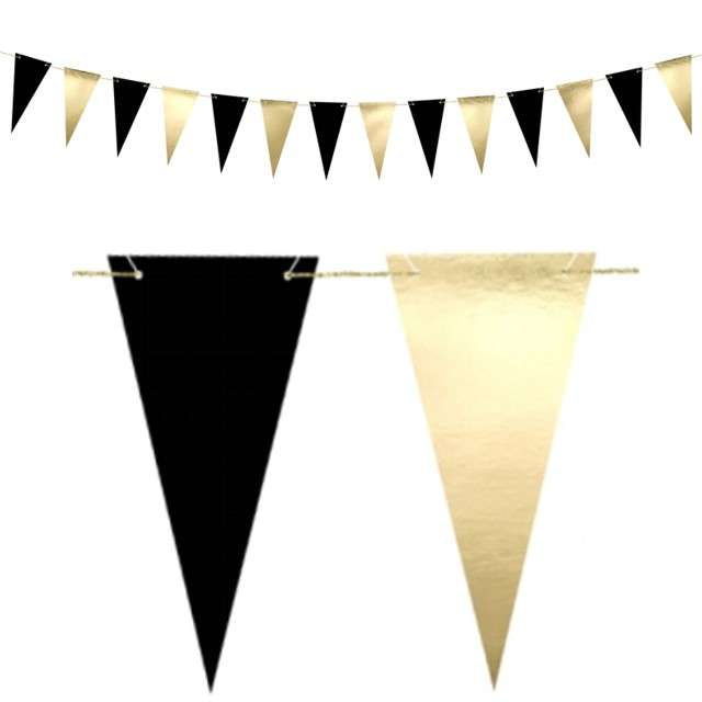 "Baner flagi ""Black & Gold"", PartyDeco, 215 cm"