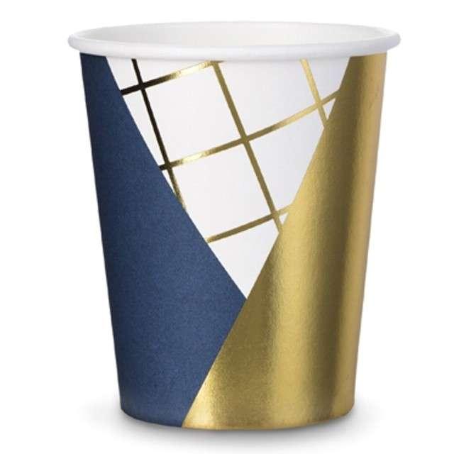 """Kubeczki papierowe """"Elegant Night"""", PartyDeco, 260 ml, 6 szt"""