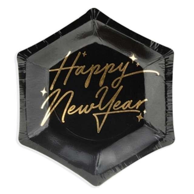 """Talerzyki papierowe """"Happy New Year"""", PartyDeco, 12,5 cm, 6 szt"""