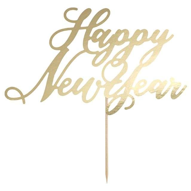 """Dekoracja na tort """"Happy New Year"""", złoty, PartyDeco, 24 cm"""