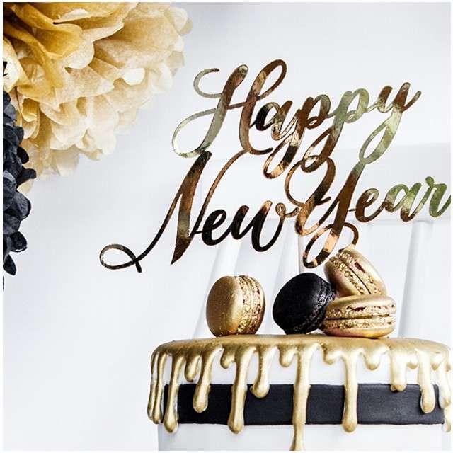 Dekoracja na tort Happy New Year złoty PartyDeco 24 cm