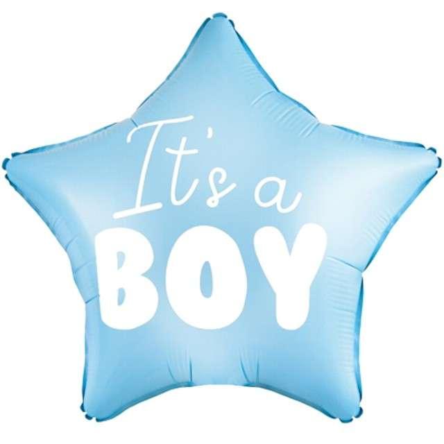 """Balon foliowy """"Gwiazdka - Its a Boy"""", niebieski jasny, PartyDeco, 19"""" STR"""