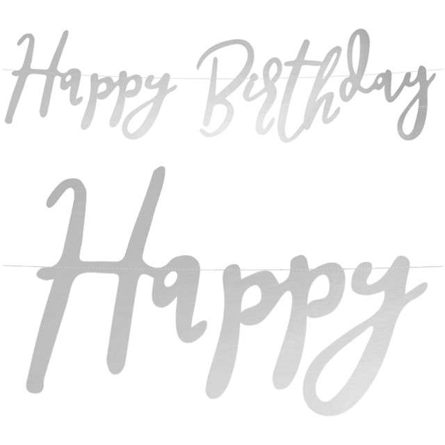 "Baner ""Happy Birthday"", srebrny, PartyDeco, 62 cm"