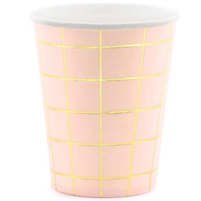 """Kubeczki papierowe """"Kratka"""", różowe jasne, PartyDeco, 200 ml, 6 szt"""