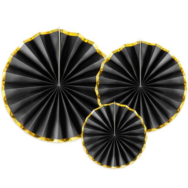 """Rozeta wisząca """"Classic Gold"""", czarne, PartyDeco, 3 szt"""