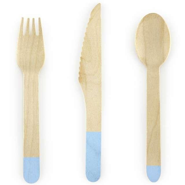 """Sztućce drewniane """"Classic"""", niebieskie jasne, 16 cm, 18 szt"""