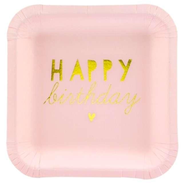 """Talerzyki papierowe """"Happy Birthday"""", różowy jasny, PartyDeco, 14 cm, 6 szt"""