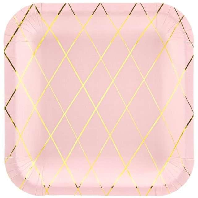 """Talerzyki papierowe """"Kratka"""", różowe jasne, PartyDeco, 20 cm, 6 szt"""