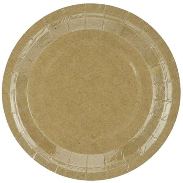 """Talerzyki papierowe """"Kraft"""", brązowe, PartyDeco, 18 cm, 6 szt"""
