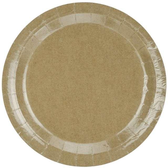 """Talerzyki papierowe """"Kraft"""", brązowe, PartyDeco, 23 cm, 6 szt"""