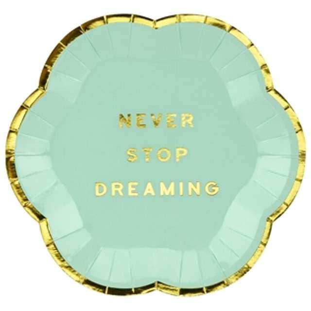 """Talerzyki papierowe """"Yummy - Never Stop Dreaming"""", miętowy, PartyDeco, 13 cm, 6 szt"""