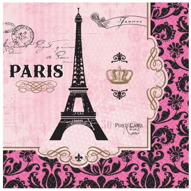 """Serwetki """"A Day In Paris"""", AMSCAN, 33 cm, 16 szt"""