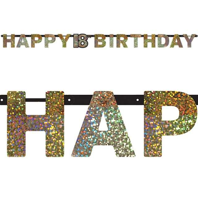 "Baner ""18 Urodziny - Sparkling Celebrations Gold"", AMSCAN, 240 cm"