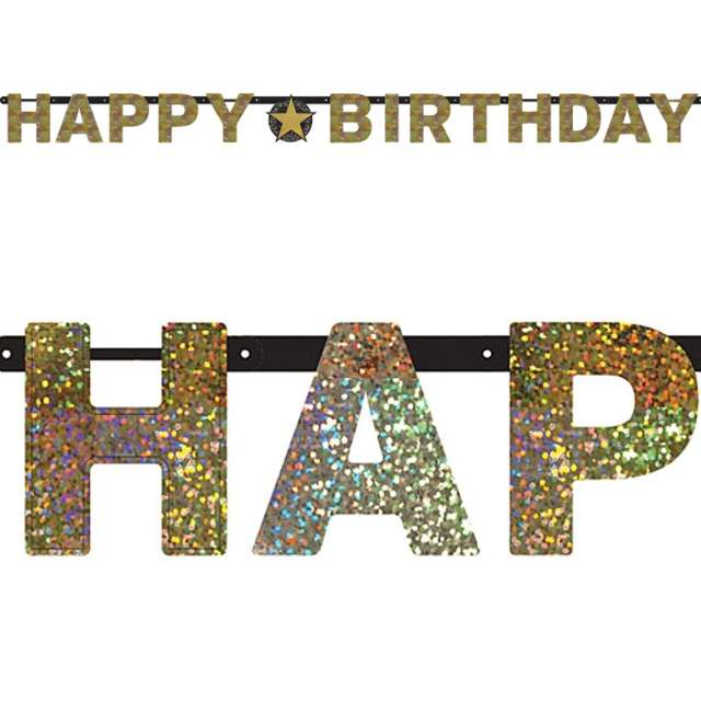 "Baner ""Happy Birthday - Sparkling Celebration Gold"", AMSCAN, 213 cm"