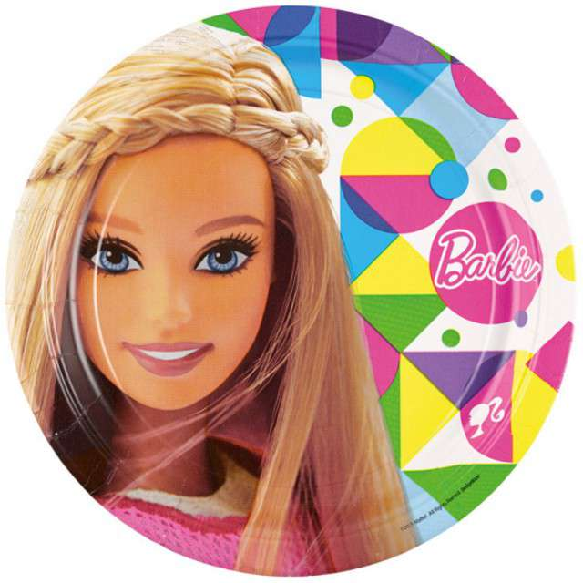 """Talerzyki papierowe """"Barbie Sparkle"""", AMSCAN, 23 cm, 8 szt"""