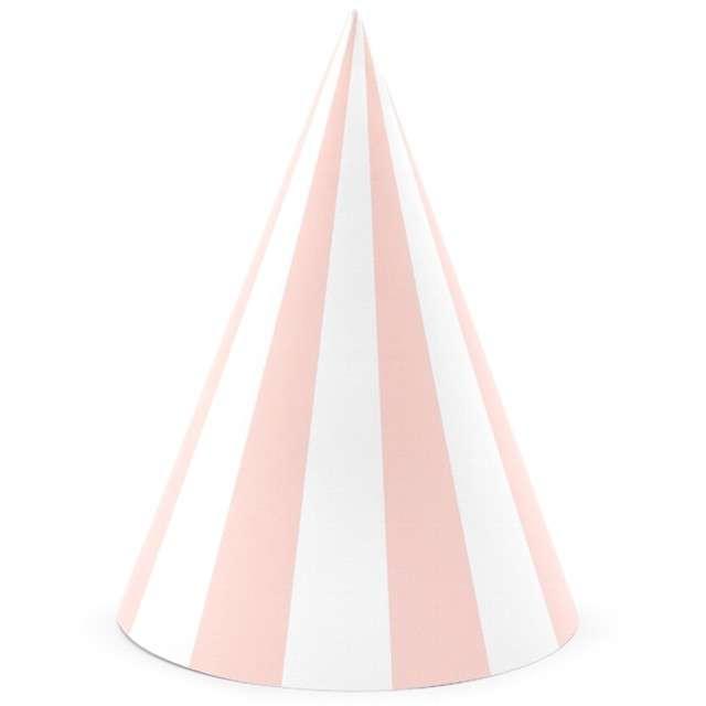 """Czapeczki papierowe """"Paski"""", różowy jasny, PartyDeco, 16 cm, 6 szt"""