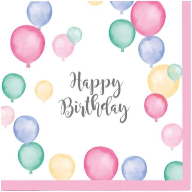 "Serwetki ""Happy Birthday Pastel"", AMSCAN, 25 cm, 20 szt"