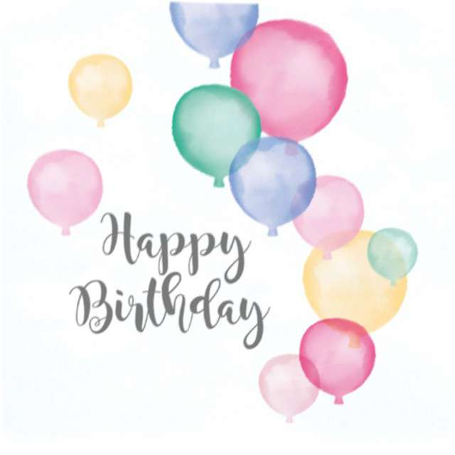 "Serwetki ""Happy Birthday Pastel"", AMSCAN, 33 cm, 20 szt"