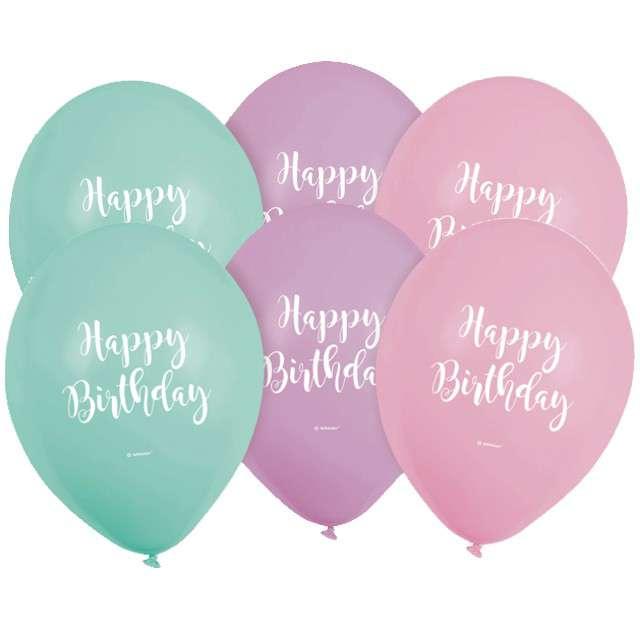 Balony Happy Birthday pastel mix AMSCAN 9 6 szt