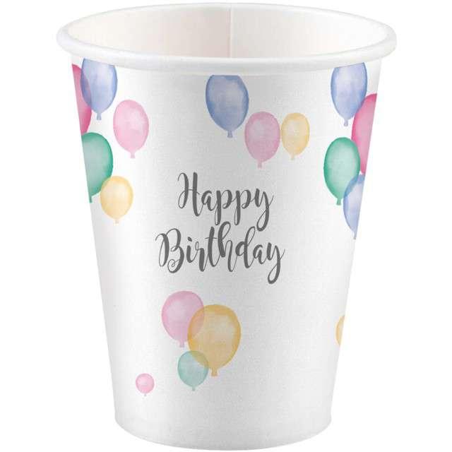 "Kubeczki papierowe ""Happy Birthday Pastel"", AMSCAN, 250 ml, 8 szt"