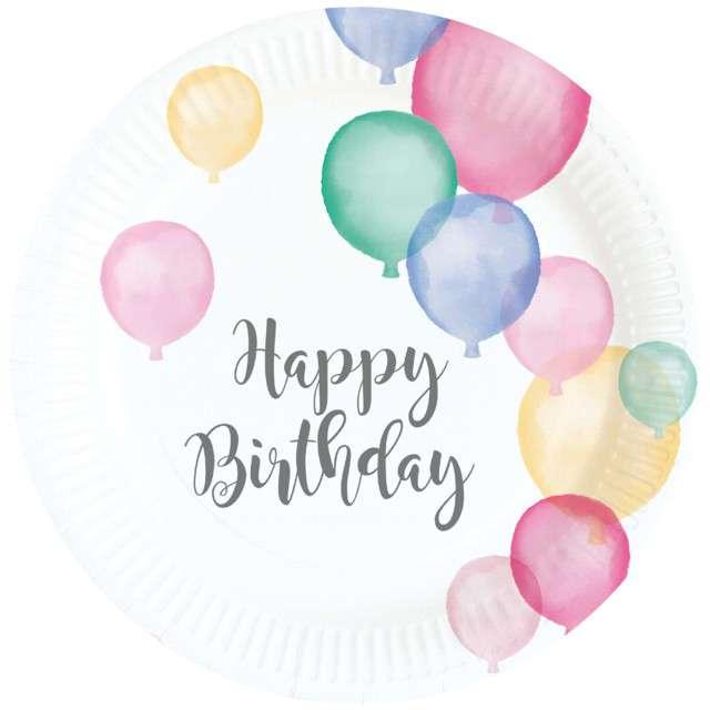 """Talerzyki papierowe """"Happy Birthday Pastel"""", AMSCAN, 18 cm, 8 szt"""