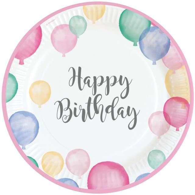 """Talerzyki papierowe """"Happy Birthday Pastel"""", AMSCAN, 23 cm, 8 szt"""