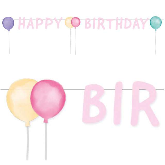 "Baner ""Happy Birthday Pastel"", AMSCAN, 150 cm"