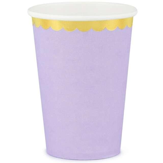 """Kubeczki papierowe """"Golden Border"""", liliowy, PartyDeco, 220 ml, 6 szt"""