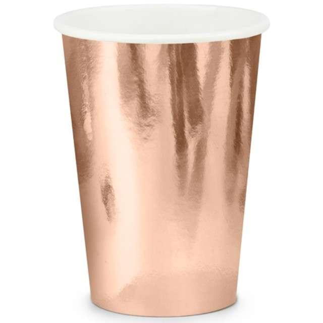 """Kubeczki papierowe """"Shiny Premium"""", różowe złoto, PartyDeco, 220 ml, 6 szt"""