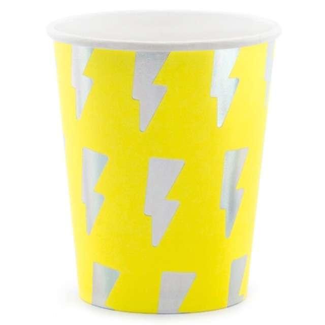 """Kubeczki papierowe """"Electric Holo"""", żółty neon, PartyDeco, 260 ml, 6 szt"""