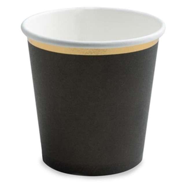 """Kubeczki papierowe """"Black Party"""", czarny, PartyDeco, 100 ml, 6 szt"""