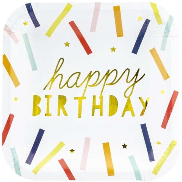 """Talerzyki papierowe """"Happy Birthday"""", mix, PartyDeco, 20 cm, 6 szt"""