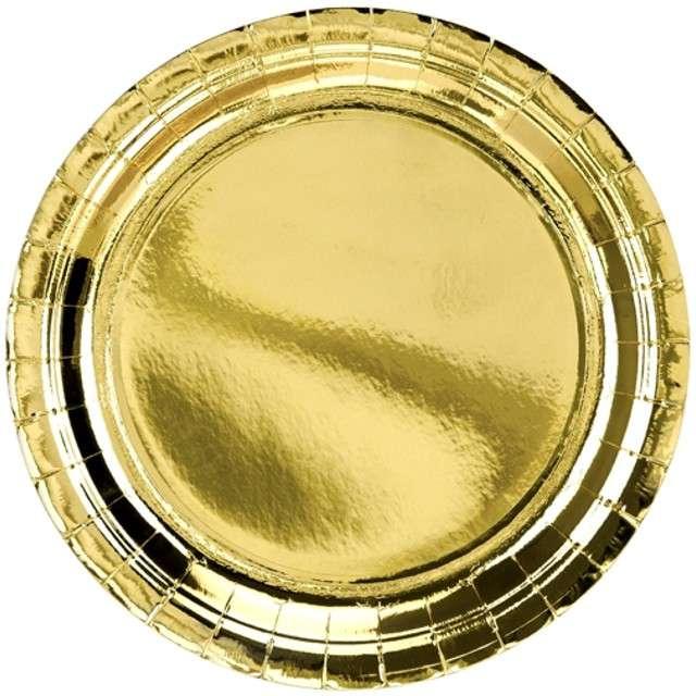 """Talerzyki papierowe """"Exotic Premium"""", PartyDeco, złote, 23 cm, 6 szt"""