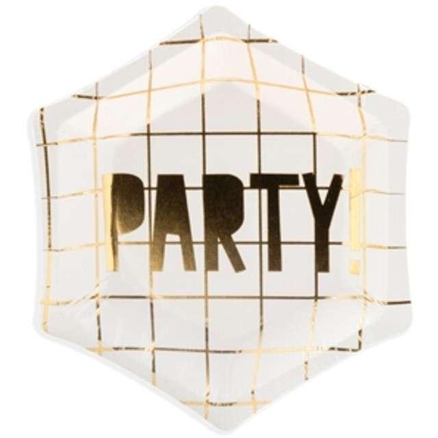 """Talerzyki papierowe """"Golden Party"""", białe, PartyDeco, 12,5 cm, 6 szt"""