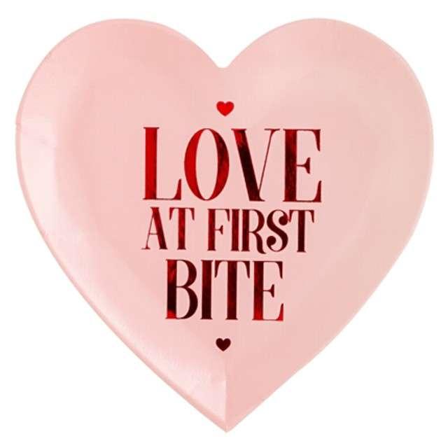 """Talerzyki papierowe """"Walentynkowe Serce"""", różowe, PartyDeco, 18,5 cm, 6 szt"""