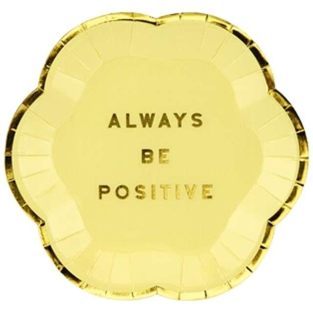 """Talerzyki papierowe """"Yummy - Always Be Positive"""", żółty jasny, PartyDeco, 13 cm, 6 szt"""