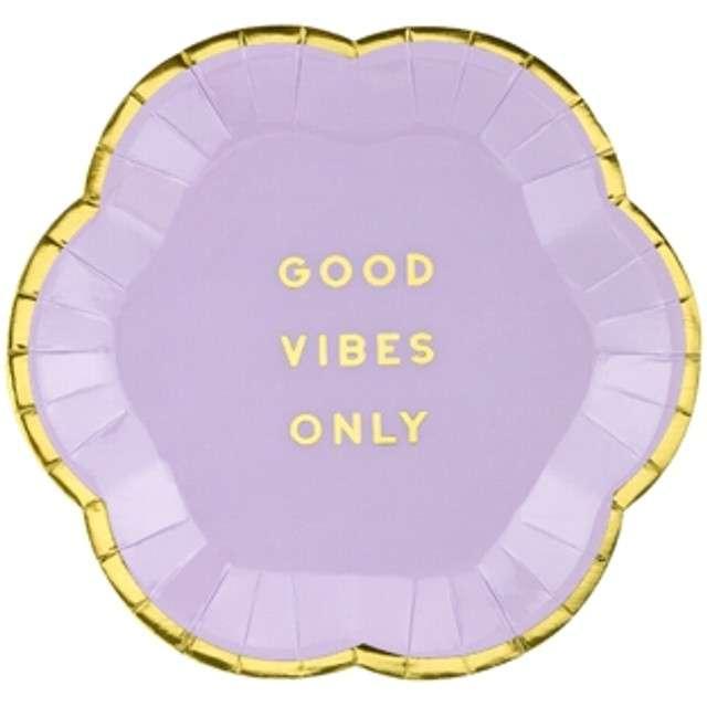 """Talerzyki papierowe """"Yummy - Good Vibes Only"""", fioletowy jasny, PartyDeco, 13 cm, 6 szt"""