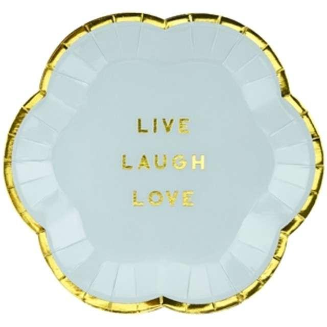 """Talerzyki papierowe """"Yummy - Live Laugh Love"""", niebieski jasny, PartyDeco, 13 cm, 6 szt"""