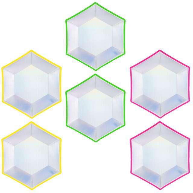 """Talerzyki papierowe """"Holograficzne"""", mix, PartyDeco, 20 cm, 6 szt"""