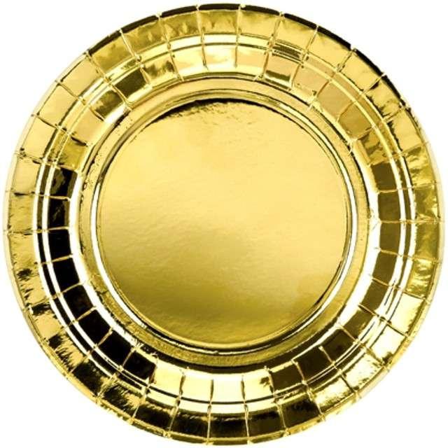 """Talerzyki papierowe """"Exotic Premium"""", PartyDeco, złote, 18 cm, 6 szt"""