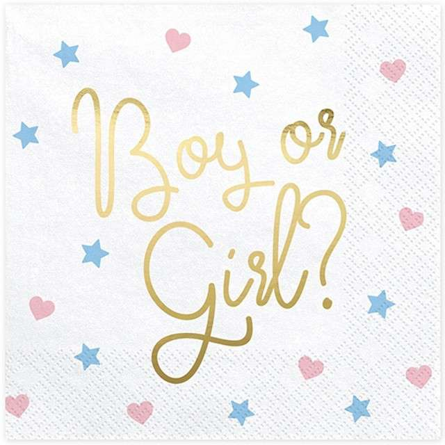 """Serwetki """"Boy or Girl"""", białe, PartyDeco, 33 cm, 20 szt"""